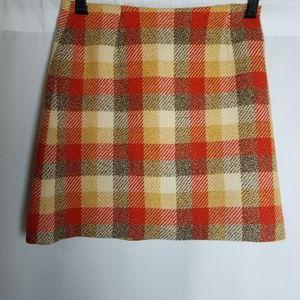 Vintage Mod 60s 70s orange plaid wool mini skirt 6